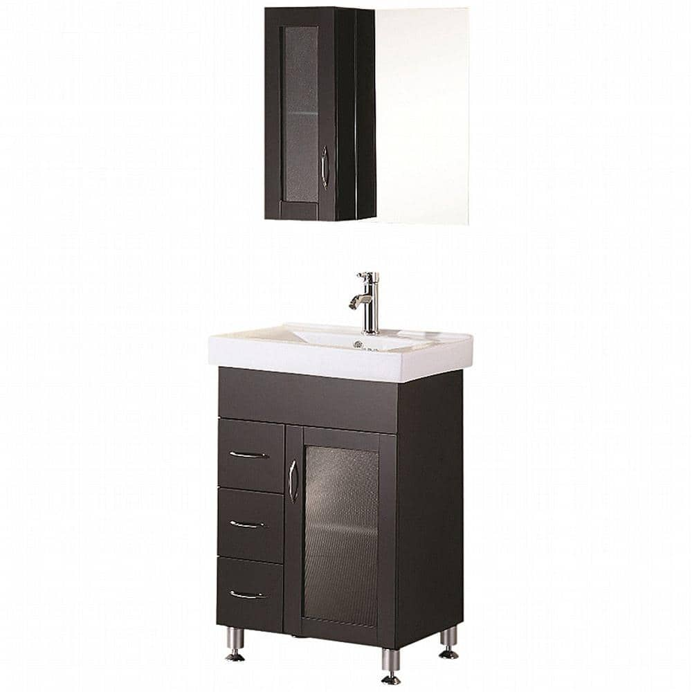 Design Element Oslo 24 In W X 18 In D Vanity In Espresso With Porcelain Vanity Top And Mirror In White Dec022 The Home Depot