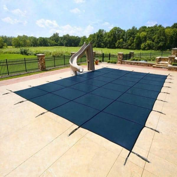 Yard Guard Deck Lock Mesh 18 Ft X 36 Ft Rectangular Blue In Ground Swimming Pool Safety Cover Du18365 Blue The Home Depot