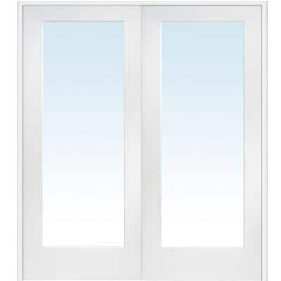 72 in. x 80 in. Both Active Primed Composite Clear Glass Full Lite Prehung Interior French Door