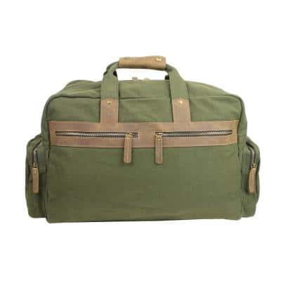 19 in. Large Classic Canvas with Full Grain Leather Travel Duffel Bag