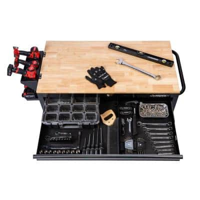 46 in. W x 24 in. D 9-Drawer Gloss Black Deep Tool Chest Mobile Workbench with Hardwood Top