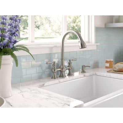 Capilano 2-Handle Bridge Farmhouse Pull-Down Kitchen Faucet with Soap Dispenser and Sweep Spray in Vibrant Stainless
