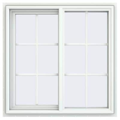 35.5 in. x 35.5 in. V-4500 Series White Vinyl Left-Handed Sliding Window with Colonial Grids/Grilles
