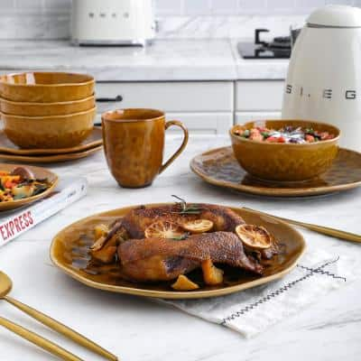 32-Piece Dishes for 8-Brown Constance Modern Porcelain Dish Set