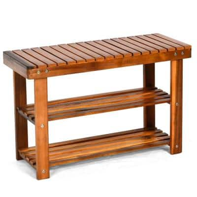 Teak 18 in. H 3-Tier 8- Pair Wood Shoe Storage Bench