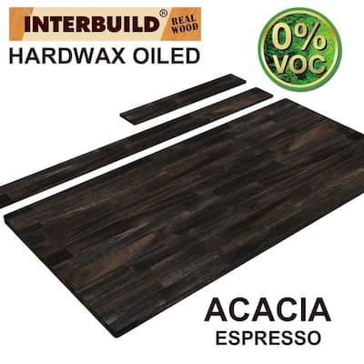 61 in. x 24 in. x 1 in. Acacia Vanity Top with Backsplash, Espresso