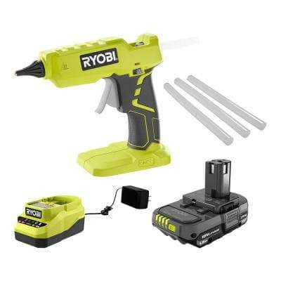 ONE+ 18-Volt Cordless Full Size Glue Gun Kit with 1.5 Ah Battery, 18-Volt Charger, and (3) 1/2 in. Glue Sticks