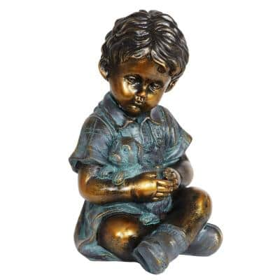 Bronze Look Boy and Puppy Statue