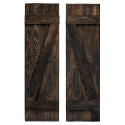 14 in. x 42 in. Z Wood Board and Batten Shutters Pair in Slate Black
