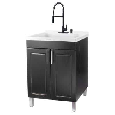 24 in. x 21.75 in. x 33.75 in. Thermoplastic Drop-In Utility Sink, Black Coil Faucet, Soap Dispenser, Black MDF Cabinet