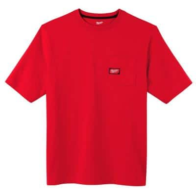 Men's 2X-Large Red Heavy-Duty Cotton/Polyester Short-Sleeve Pocket T-Shirt