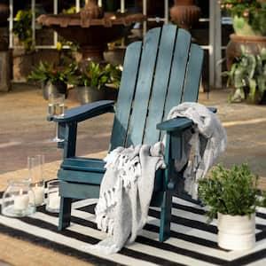 Navy Blue Outdoor Patio Wood Adirondack Chair