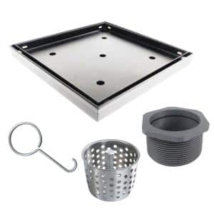 4 in. x 4 in. Stainless Steel Square Shower Drain with Tile Insert Drain Cover