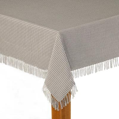 Homespun Fringed 70 in. Round Grey 100% Cotton Tablecloth