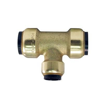 3/4 in. x 3/4 in. x 1/2 in. Brass Push-to-Connect Reducer Tee