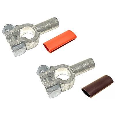 4-Gauge Positive and Negative Pure Copper Top Post Battery Cable Terminal Connectors Plus Heat Shrink (1-Pair)