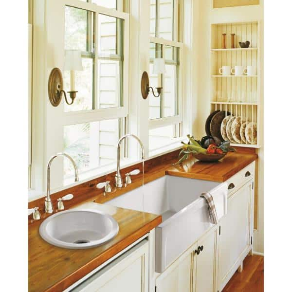 Barclay Products Granville Farmhouse Apron Front Fireclay 30 In Single Bowl Kitchen Sink Bisque Fssb1054 Bq The Home Depot