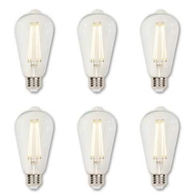 60-Watt Equivalent ST20 Dimmable Clear Edison Filament LED Light Bulb Soft White Light (6-Pack)