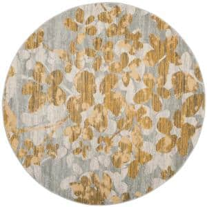 Evoke Gray/Gold 7 ft. x 7 ft. Round Floral Area Rug