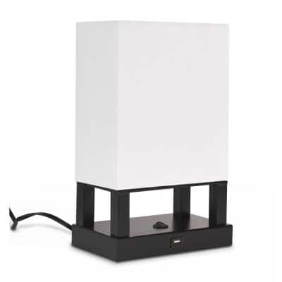 Spencer 13 in. Black and White Table Lamp with USB Charging Station