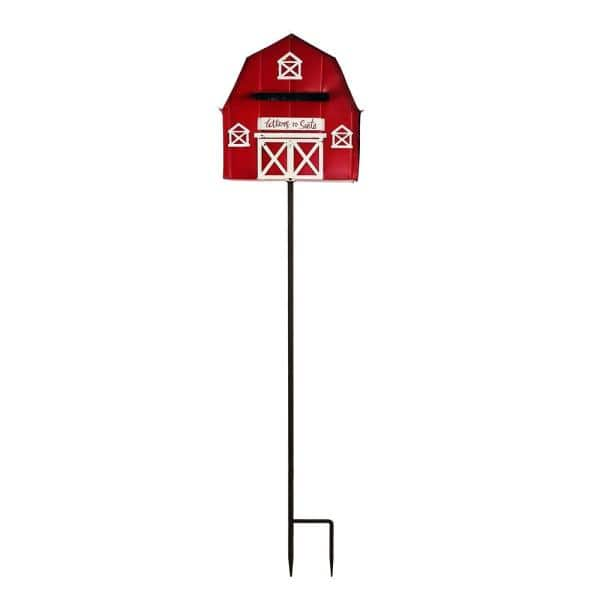 Alpine Corporation 54 in. Tall Metal Letters to Santa Red Barnhouse Mailbox Garden Stake | The Home Depot