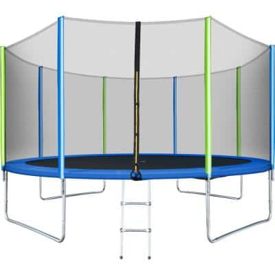 Viraha 14 ft. Round Outdoor Trampoline for Kids with Safety Enclosure Net, Ladder and 8 Wind Stakes