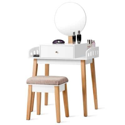 1-Drawer White Wooden Vanity Makeup Dressing Table Stool Set Round Mirror