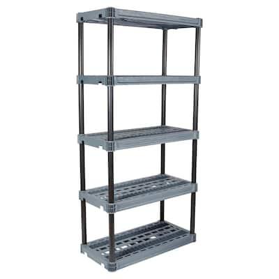 Dark Gray and Black 5-Tier Plastic Shelving Unit (36 in. W x 74 in. H x 18 in. D)