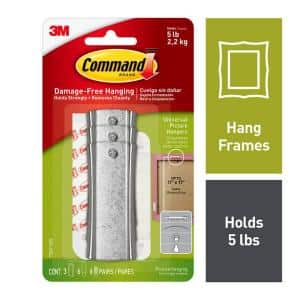 Large White Sticky Nail Sawtooth Hangers (3 Hangers, 6 Large Adhesive Strips, 6 Mini Adhesive Strip Pairs)