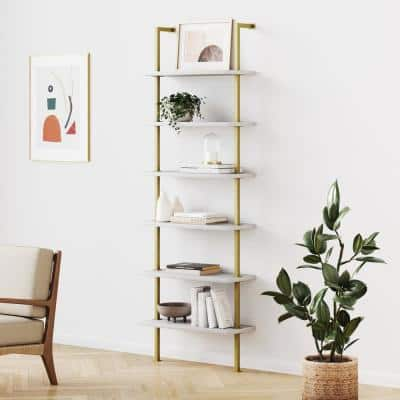 Theo 85 in. White/Gold Brass Reclaimed Wood 6-Shelf Tall Ladder Bookshelf Wall Mount Bookcase with Metal Frame