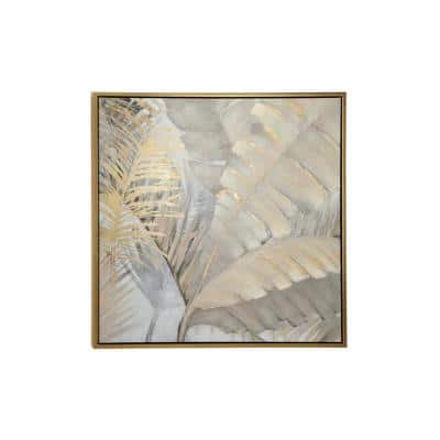 Large Square Acrylic Painting of Beige, Gray and Gold Palm Leaves and Ferns in Wood Frame, 39.5 in. x 39.5 in.