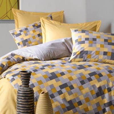 Yellow Geometry Duvet Cover Set Queen Size Cotton Duvet Cover 1-Duvet Cover 1-Fitted Sheet and 2-Pillowcases