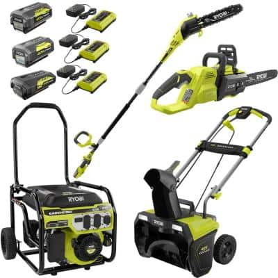 6,500-Watt Gas Powered Portable Generator with CO Shutdown Sensor, 40-Volt Chainsaw, Pole Saw, Snow Blower Kit (4-Tool)