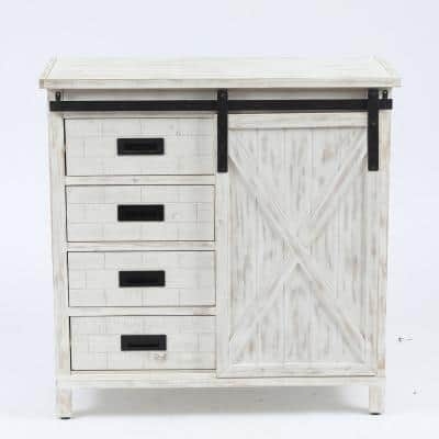 Wood Farmhouse White Storage Cabinet