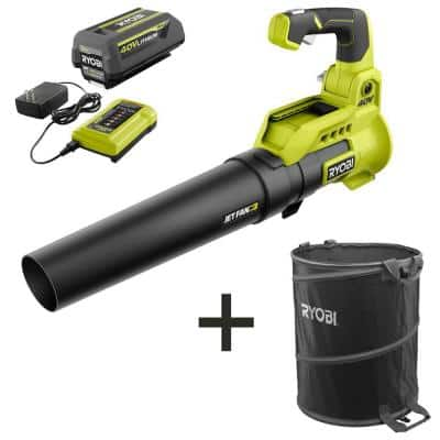 110 MPH 525 CFM 40-Volt Lithium-Ion Jet Fan Leaf Blower with Lawn and Leaf Bag - 4.0 Ah Battery and Charger Included