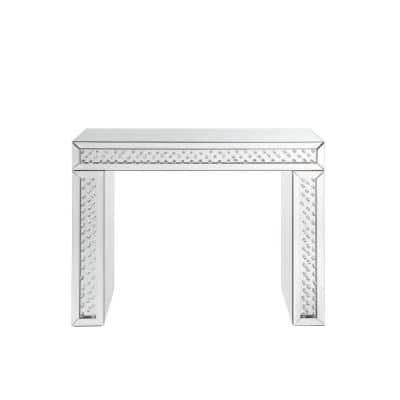 Silver Mirror Accented Wood and Glass Vanity Desk with Faux Crystal Inlay