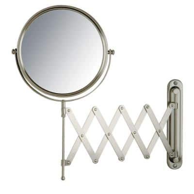 16 in. x 9 in. Wall Mount Makeup Mirror in Matte Nickel