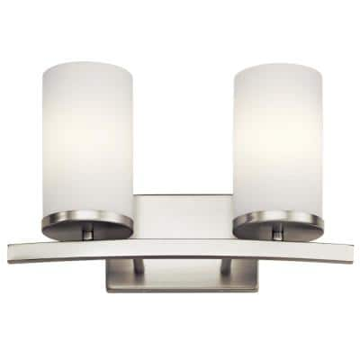 Crosby 2-Light Brushed Nickel Vanity Light with Satin Etched Opal Glass