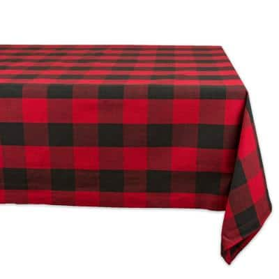 Christmas 60 in. x 120 in. Red Checkered Cotton Tablecloth