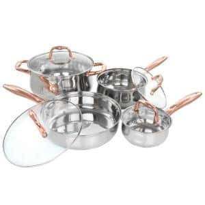 Bransonville 8-Piece Stainless Steel Cookware Set in Chrome and Bronze