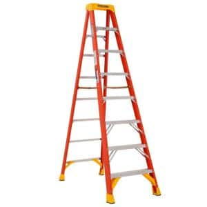 8 ft. Fiberglass Step Ladder (12 ft. Reach Height), 300 lbs. Load Capacity Type IA Duty Rating