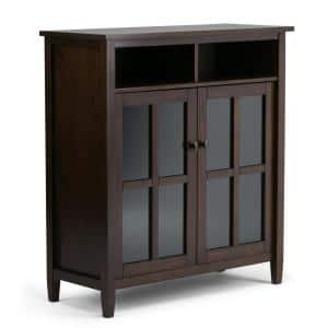 Warm Shaker Solid Wood 39 in. Wide Rustic Medium Storage Media Cabinet in Tobacco Brown