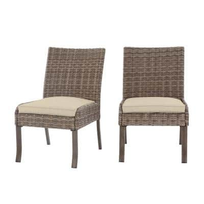 Windsor Brown Wicker Outdoor Patio Stationary Armless Dining Chair with CushionGuard Biscuit Tan Cushions (2-Pack)