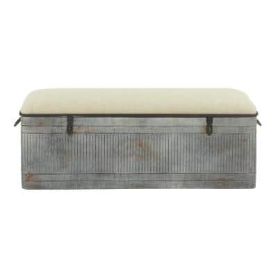 50 in. x 18 in. Horse Watering Trough-Inspired Silver Gray Iron Storage Bench w/ Beige Cotton Seat