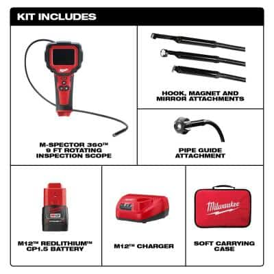 M12 12-Volt Lithium-Ion Cordless M-Spector 360° Inspection Camera 9 ft. Cable Kit W/(1) 1.5Ah Battery & Hard Case