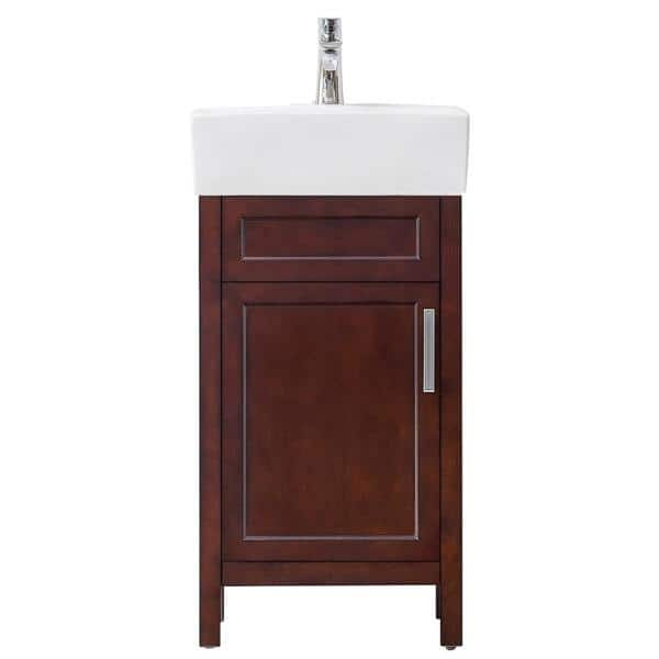 Home Decorators Collection Arvesen 18 In W X 12 In D Bath Vanity In Tobacco With Vitreous China Vanity Top In White Hcarvesen18 The Home Depot