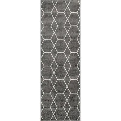 Trellis Frieze Dark Gray/Ivory 2 ft. x 6 ft. Geometric Runner Rug