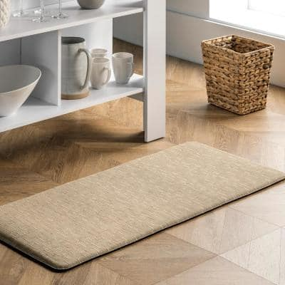 Casual Crosshatched Anti Fatigue Kitchen or Laundry Room Beige 20 in. x 42 in. Indoor Comfort Mat