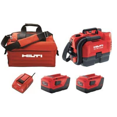 22 Volt Lithium-Ion Cordless VC 75-1 Vacuum Cleaner Kit with Two 8.0 Ah Batteries, C4 36-90 Charger and Bag