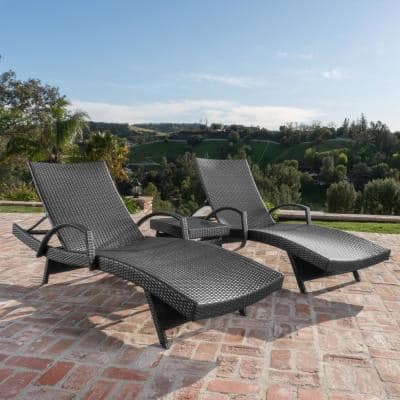 Miller Grey 3-Piece Wicker Outdoor Chaise Lounge with Armrest